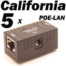 5 X Black POE Injector Splitter over Ethernet Adapter f IP Camera LAN Network DC