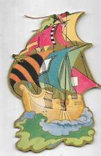 art deco bridge tally card ,4 inch graphics of a pirate type sailing ship asea