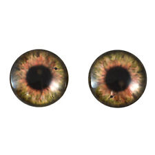 Pair of 20mm Brown Steampunk Clock Glass Eyes Cabochons Set