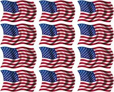 "12 - 2""x1.2"" American Wavy Decal US USA United States Hard Hat Helmet Sticker R"