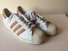 Adidas Superstar Shell Toe. Size 9.5. White And Mustard Stripe. Crocodile Skin