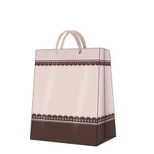 Printed Paper Gift Present Bag SUMMER ROMANCE Elegant Pink Brown Dots Large / D