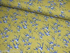 Jerseystoff Schwalben gelb blau Damenstoff Meterware Baumwolljersey Stoffe