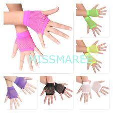Fishnet short gloves 80s costume dance neon pink green purple black yellow white
