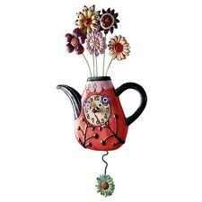 """ALLEN DESIGNS """"Tea Flower Clock"""" NEU/OVP Blumenstrauß Teekanne Pendel Wand-Uhr"""