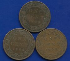 1900(No H) 1902 & 1908 Canada Large 1 Cent Coins