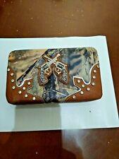 Ladies Wallet with Checkbook Holder & Rhinestones Double Pistol Western Style