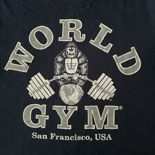 Vintage World Gym San Francisco USA Double Sided Fitness Workout Exercise Medium