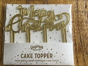 Merry Christmas Cake Topper Gold Acrylic