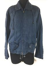 Chicos Size 3 Blue 100% Linen Fully Zip Bomber Womens Drawstring Jacket Coat