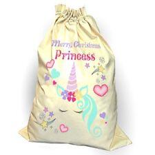 Princess Unicorn Sack Christmas Reindeer Xmas Bag Stocking Personalised Name