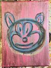 MR CLEVER ART SPACE DOG PINK PAINTING contemporary blue abstract avant garde pop