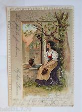 """ Mujeres, Brunnen, Am Fuente Vor Dem Portones"" 1901 , Postal Relieve (15389)"