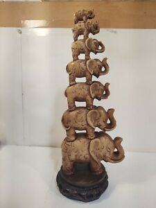 Vintage Made In Italy Balancing Elephant Tower Figurine hd2566