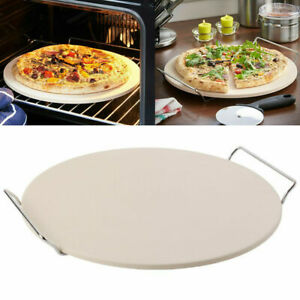 33cm Extra Large Ceramic Pizza Baking Stone Set Chrome Stand With Pizza Cutter