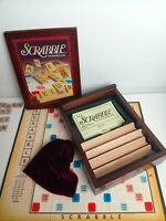 Parker Brothers Vtg Game Collection Exclusive Wooden Book Box Bookshelf Scrabble