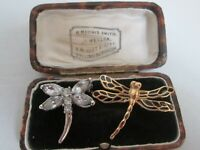 2 VINTAGE RHINESTONE ENAMEL DRAGONFLY INSECT BROOCHES PINS