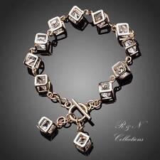 18K Gold Plated Made W/Swarovski Austrian Crystal Cube Charm Bracelet B181-17