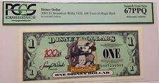 2002A $1 Steamboat Willie Disney  Dollar PCGS Graded Superb Gem New 67PPQ