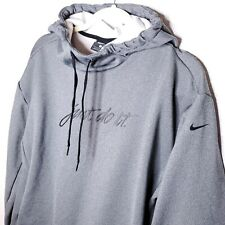 Nike Just Do It Gray Pullover Hooded Sweatshirt Hoodie Mens Small