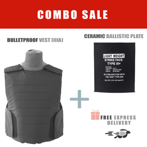 Bullet Proof Vest Body Armor level IIIA 3A w/ Ceramic Ballistic Plate - ROBO