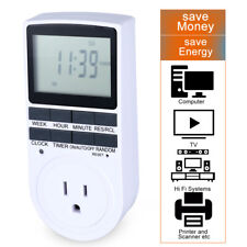7-Day Digital Electric Programmable Timer Switch LCD Plug-in Socket Dual Outlet