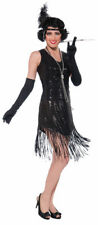 Womens Black Sequined Flapper Halloween Costume Size Standard