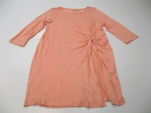 new ROAMAN'S Women's Size 12 Knot Detail Coral Pink Slit Tunic Cover Up Dress