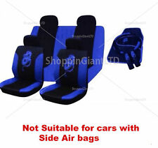 15PC BLUE BLACK DRAGON STYLE EMBROIDERED FULL CAR SEAT COVER SET + FLOOR MATS