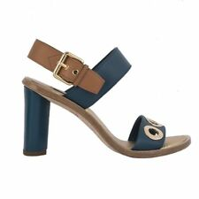 54424 auth LOUIS VUITTON petrol blue beige leather EYELET Sandals Shoes 37