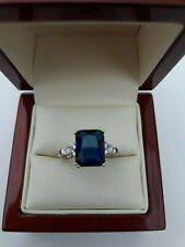 Sapphire Blue & Diamante Dress Ring Size N