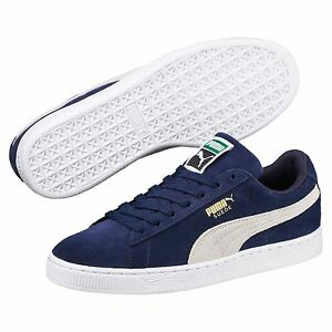Puma Men's SUEDE CLASSIC+ Shoes NEW AUTHENTIC Navy Peacoat-White