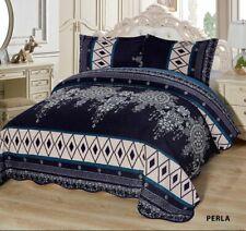 3-Pcs Super Soft KING Quilted Reversible VELVET Bedspread Coverlet Set - PERLA