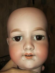 Antique Armand Marseille 390 German Bisque Doll Head A.11.M  Brown Sleep Eyes