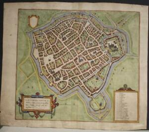 SAINT-OMER FRANCE 1588 BRAUN & HOGENBERG UNUSUAL ANTIQUE ORIGINAL CITY VIEW