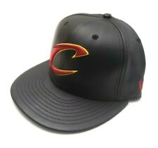 New Era Cleveland Cavaliers 59Fifty PU Leather Team Fitted Hat Black Size 7 1/8
