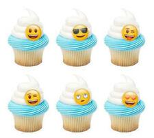 Emoticons Emoji cupcake rings (24) party favor cake topper 2 dozen