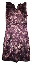 Ann Taylor Dress Size 4 Purple Print Satin V-Neck Knee Length Sleeveless Lined