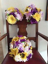 Wedding flowers bridal bouquets decoration sunflowers lavender purple or u pick