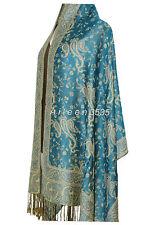 Gorgeous  Pashmina & Silk Shawl/Wrap-Blue#A