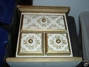 3 Drawer Gold & White Storage / Jewelry Box
