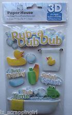 ~RUB-A DUB DUB~ Paper House Productions 3D Stickers; BABY BATH BATHTUB, splash