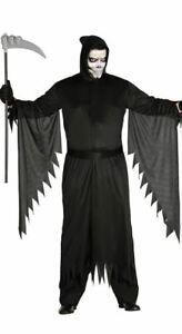 Mens Knife Assassin Costume Grim Reaper Death Halloween Fancy Dress Outfit