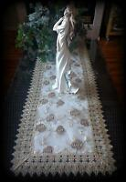 Dresser Scarf 54 Inch Metallic Gold Rose Lace Victorian Table Runner