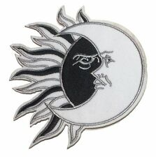 Sun Meets Moon Black and White Embroidered Iron On Patch
