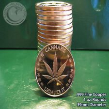 "20 ""Cannabis - Legalize It"" 1oz .999 Copper rounds 1 Roll in Tube"