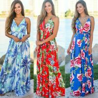 Women's Boho Sexy Sling Floral Maxi Dresses Ladies Summer Holiday Beach Sundress