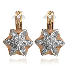 Russian Style Star Diamond Earrings in 14k Rose and White Gold G VS1