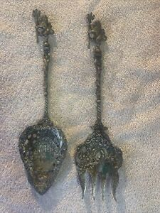 ANTIQUE ORNATE SERVING SPOON & FORK MONTAGNANI  MADE IN ITALY Mermaids Lions