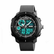 SKMEI Mens Black Dual Time Large Digital And Analogue Watch With Rubber Strap